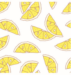 hand drawn seamless pattern with lemon vector image vector image