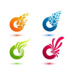 set of minimal geometric multicolor elements vector image vector image