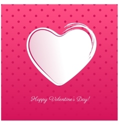 White hand drawn heart islated on pink background vector image vector image