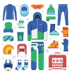 Winter Sports Clothes and Accessories Icons vector image vector image