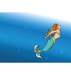 beautiful mermaid swim vector image