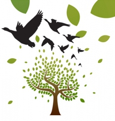 birds and tree vector image vector image