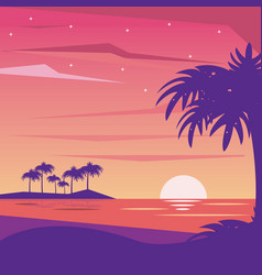 Colorful background landscape of nightly beach vector