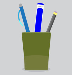 Cup stationery pen pencil vector image vector image