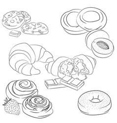 line art various baking vector image