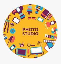 Photo studio emblem vector image vector image