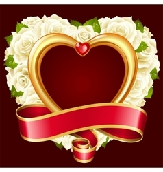 rose frame in the shape of heart vector image vector image