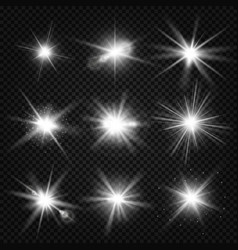 white burst rays glowing light stars vector image
