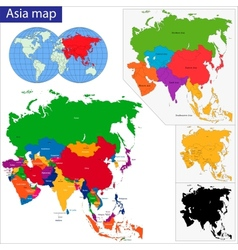 Colorful Asia map vector image vector image