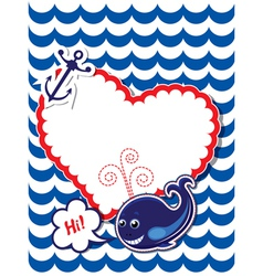 Funny Card with whale anchor and empty frame vector image vector image