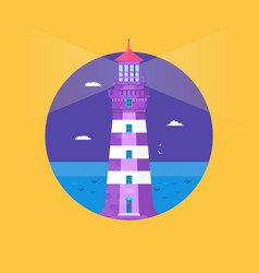 lighthouse on ocean or sea beach cartoon vector image vector image