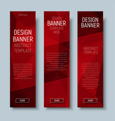 Web banners with abstract polygonal red backgroun vector