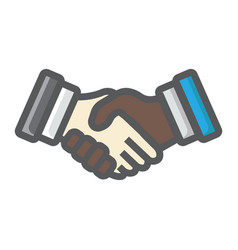 business handshake colorful line icon contract vector image vector image