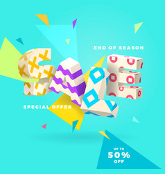 end of season sale white sign vector image vector image