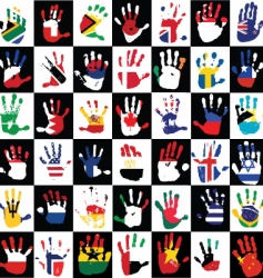 flags in the hands of kids vector image vector image