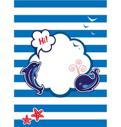 Funny Card with dolphin whale and empty frame vector image vector image