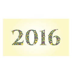 New year 2016 text design with flowers vector image