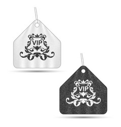 set of two elegant vip labels with ornament gray vector image vector image