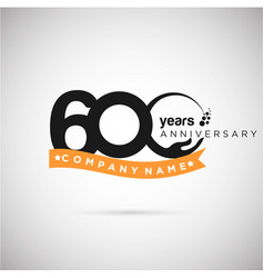 600 years anniversary logo with ribbon and hand vector image
