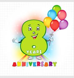 8 anniversary funny digits vector
