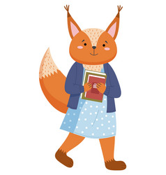 A squirrel schoolgirl with stack books is vector