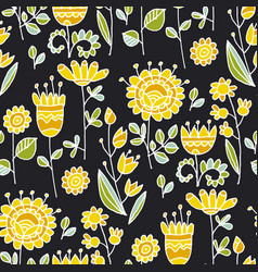 abstract flowers sketch black seamless pattern vector image
