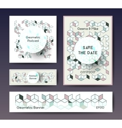 Abstract geometric banner templates vector