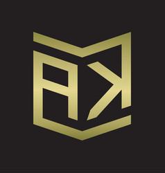 Ak logo emblem monogram with shield style design vector
