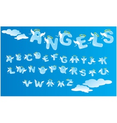 Alphabet with funny angels letters and clouds vector image