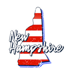 american flag in new hampshire state map grunge vector image