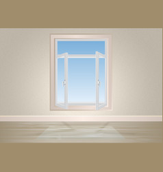 an empty room with a window and an urban landscape vector image