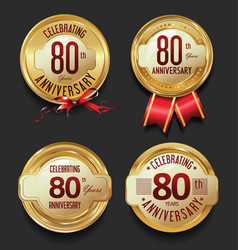 anniversary retro golden labels collection 80 vector image