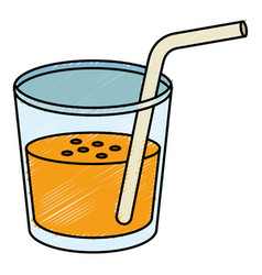 Beverage in glass cup with straw vector