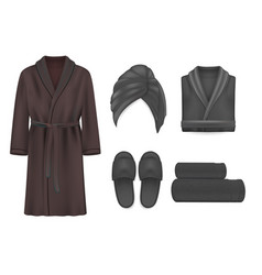Black spa apparel mockup set isolated vector