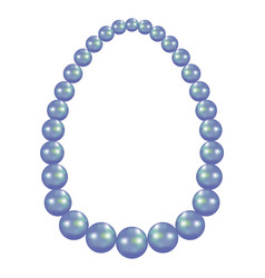 blue pearl necklace mockup realistic style vector image