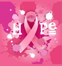 Breast cancer awareness month pink ribbon symbol vector