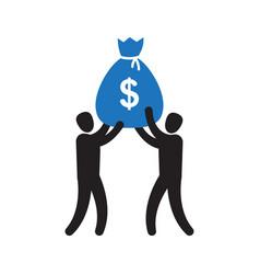 business team success hold big money bag vector image
