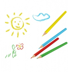 Child drawing vector