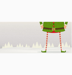 christmas composition of feet and hands of elf vector image