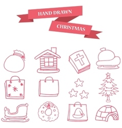 Christmas object icons collection stock vector