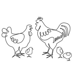 Cock hen and chickens one line drawing design vector