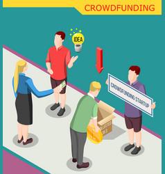 Collect money crowdfunding isometric background vector