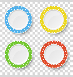 color dishes in polka dots isolated vector image
