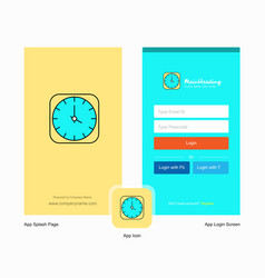 company clock splash screen and login page design vector image