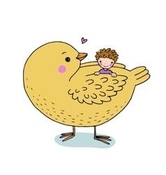 Cute cartoon baby and big bird vector