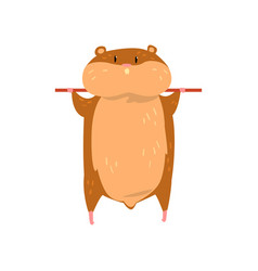 cute cartoon hamster character hanging on a stick vector image
