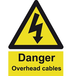 Danger Overhead Cables Safety Sign vector image