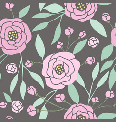 Dark seamless pattern with pink peonies vector