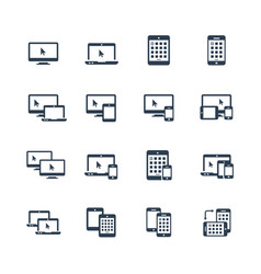 device icon set - smartphone tablet laptop and vector image