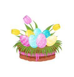 easter eggs with ornament tulip flowers and green vector image